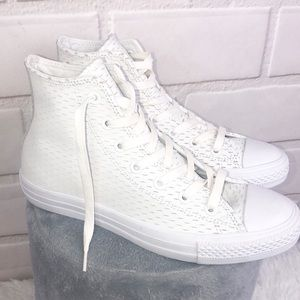 Converse high top White leather slit design
